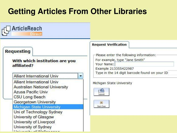 Getting Articles From Other Libraries