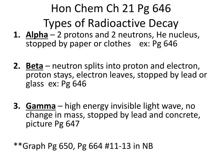Hon chem ch 21 pg 646 types of radioactive decay