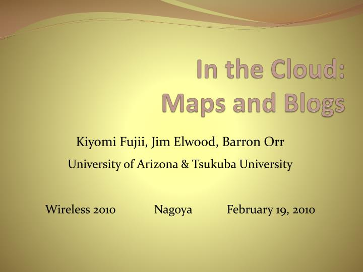 in the cloud maps and blogs n.