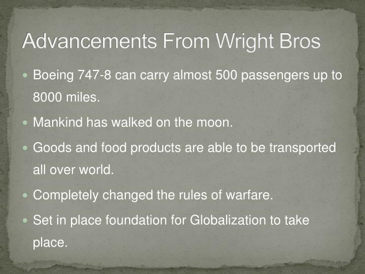 Advancements From Wright Bros