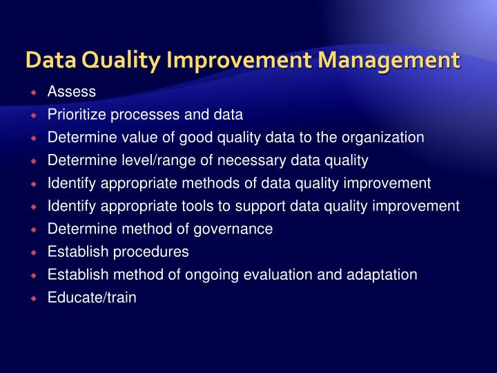 Data Quality Improvement Management