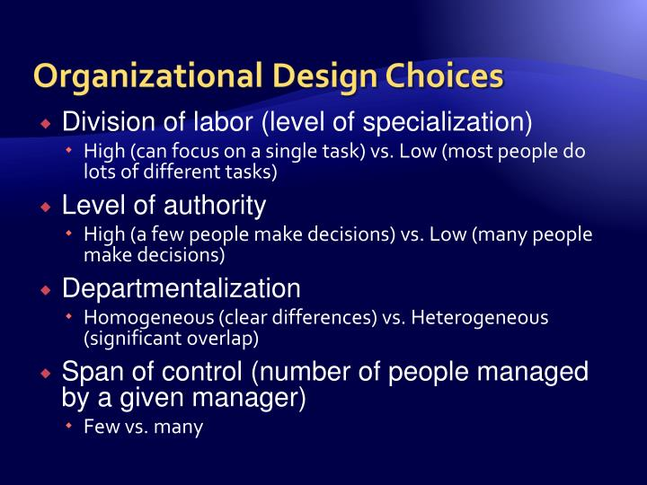 Organizational Design Choices