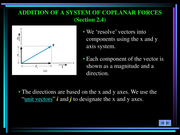 We 'resolve' vectors into components using the x and y axis system.