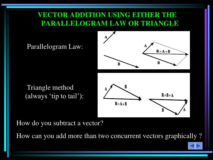 VECTOR ADDITION USING EITHER THE