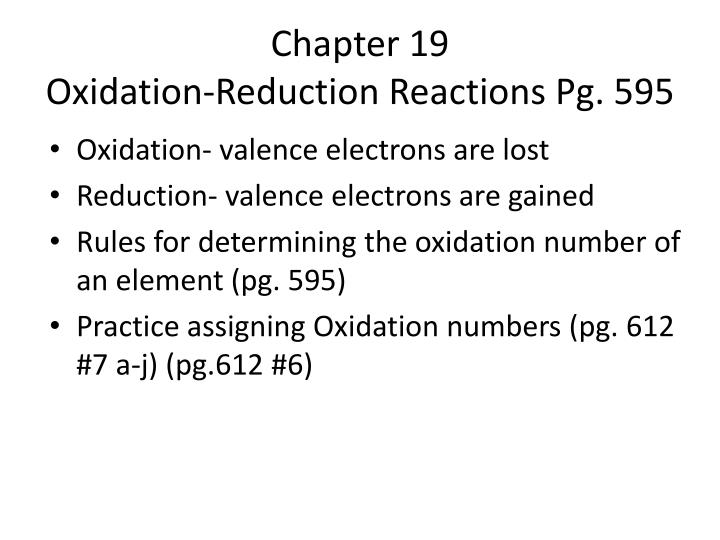 Chapter 19 oxidation reduction reactions pg 595