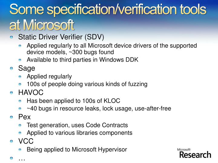 Some specification verification tools at microsoft