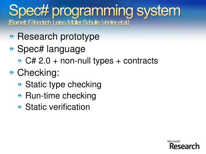 Spec# programming system