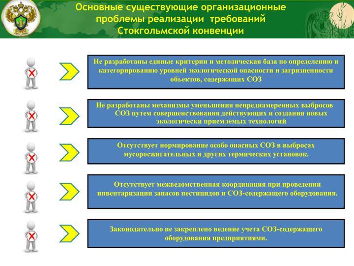 Основные существующие организационные проблемы реализации  требований