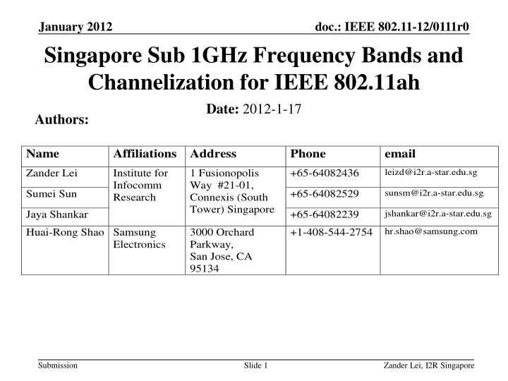 singapore sub 1ghz frequency bands and channelization for ieee 802 11ah n.