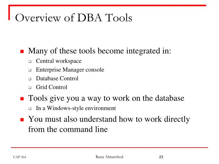 Overview of DBA Tools