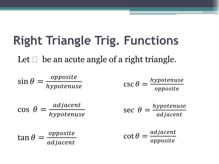 Right triangle trig functions