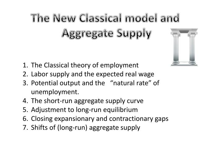 classical theory of employment The classical theory of employment states that in a labor market, employment for labors is determined by the interaction between demand and supply of labor, where the workers provide a constant supply of labor, while the employer makes demand for them.