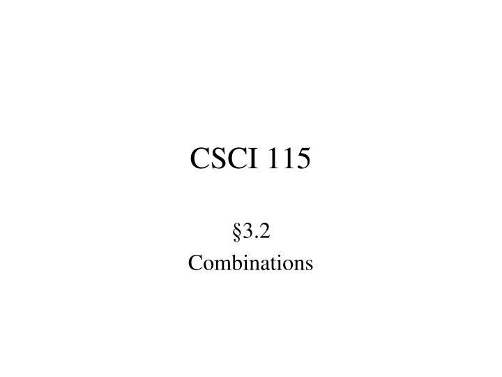 CSCI 115