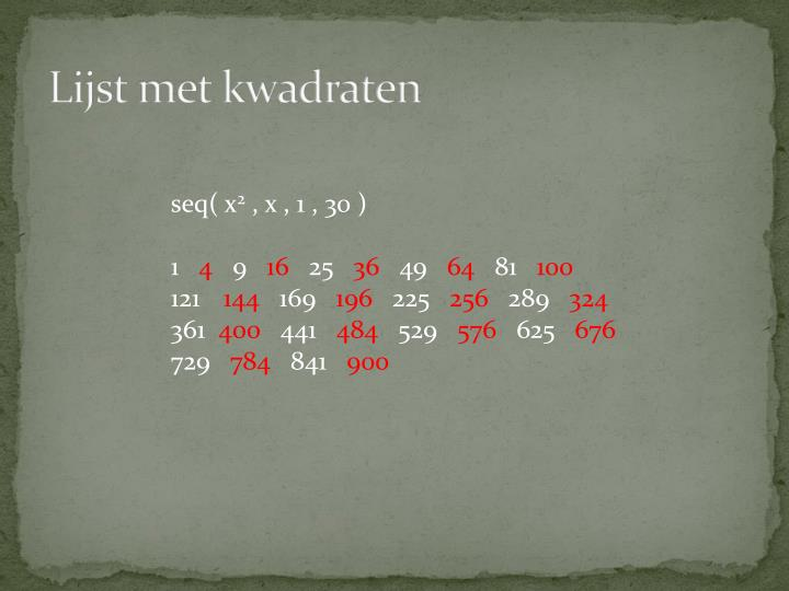Lijst met kwadraten