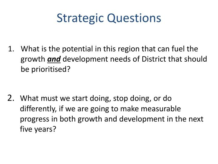 Strategic Questions