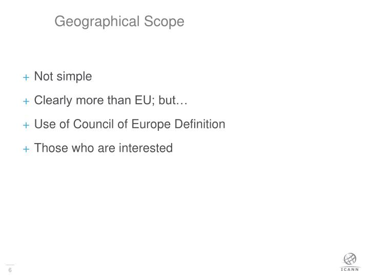 Geographical Scope