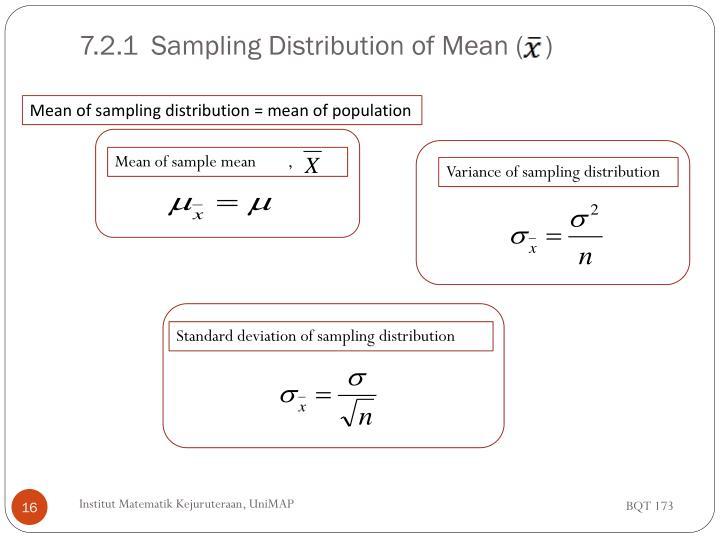 7.2.1Sampling Distribution of Mean (   )