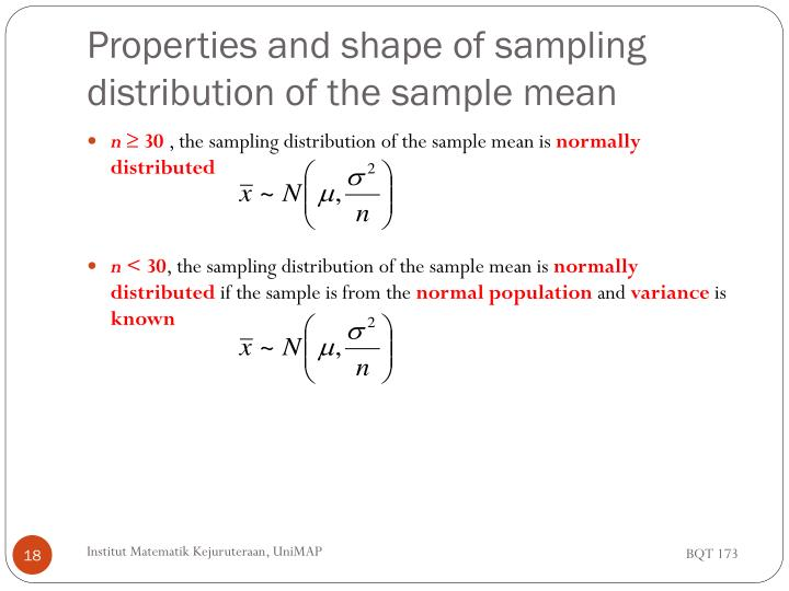 Properties and shape of sampling distribution of the sample mean