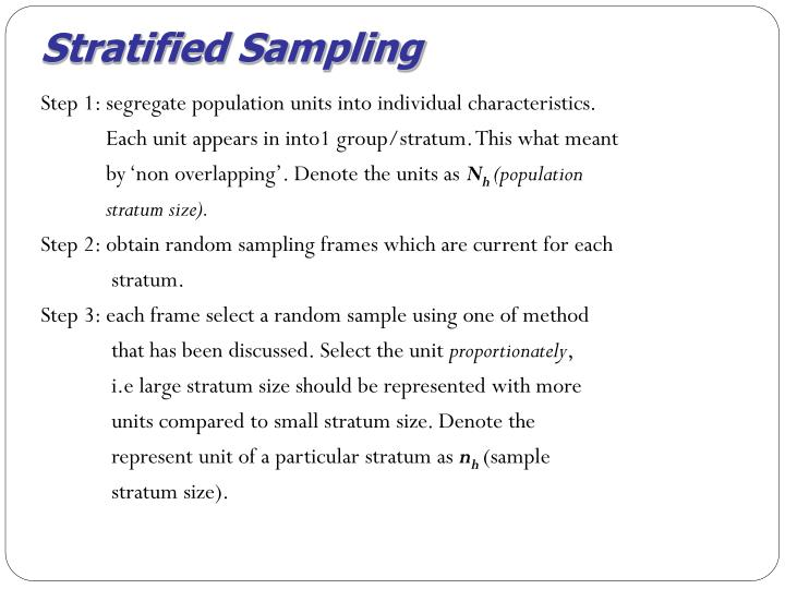 Stratified Sampling