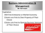 business administration management mr bernstein