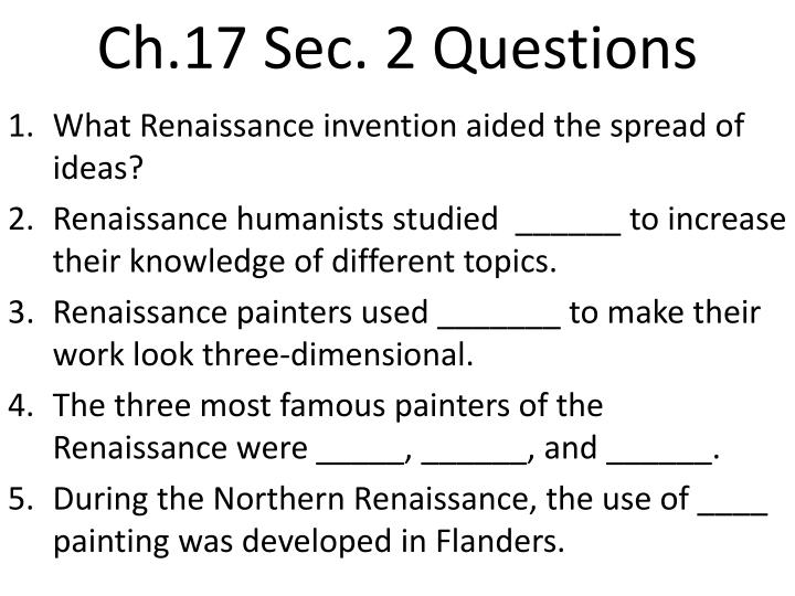 chapter 17 questions v1 Study flashcards on world history - chapter 17, sections 1 and 2 at cramcom quickly memorize the terms, phrases and much more cramcom makes it easy to get the grade you want.
