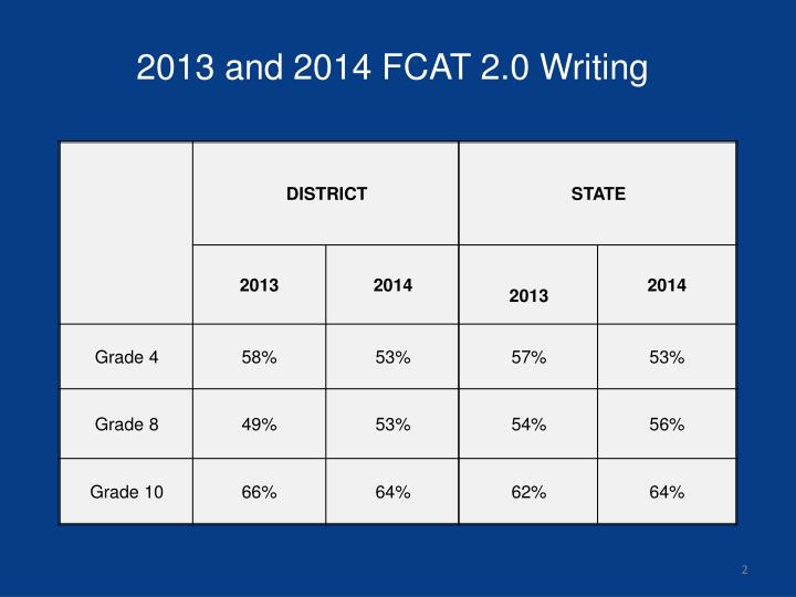 2013 and 2014 fcat 2 0 writing