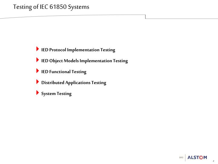 Testing of IEC 61850 Systems
