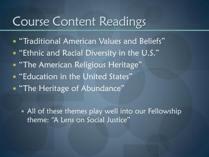 Course content readings
