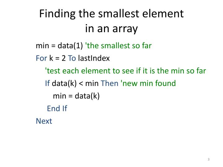 Finding the smallest element in an array