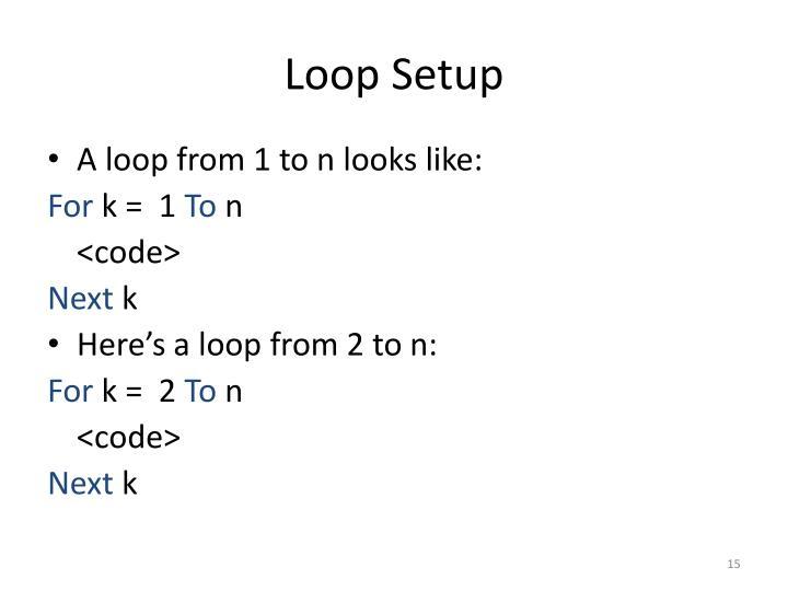 Loop Setup