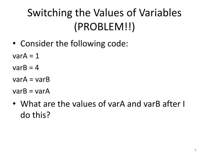 Switching the Values of Variables
