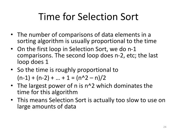 Time for Selection Sort