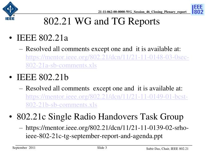 802 21 wg and tg reports
