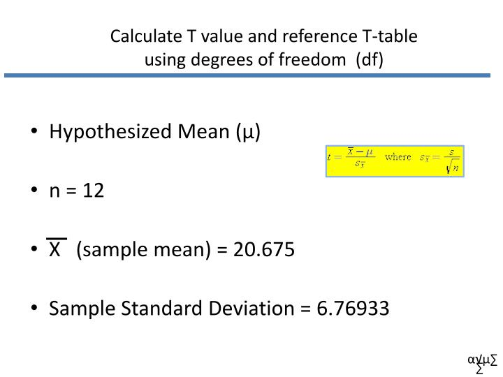 Calculate T value and reference T-table
