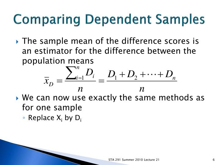 Comparing Dependent Samples