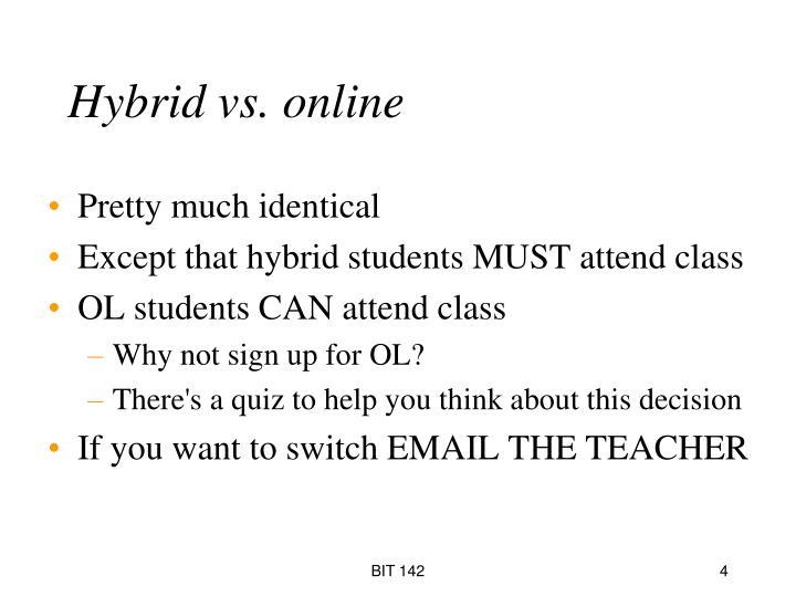 Hybrid vs. online