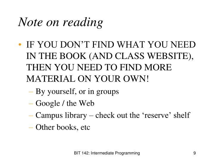 Note on reading