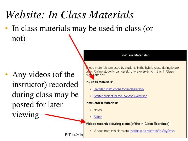 Website: In Class Materials