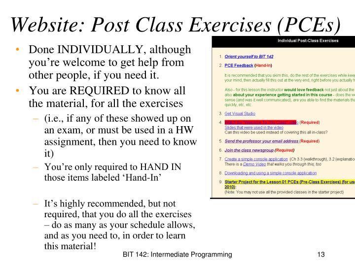 Website: Post Class Exercises (PCEs)