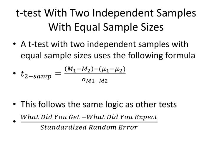 t test with two independent samples with equal sample sizes n.