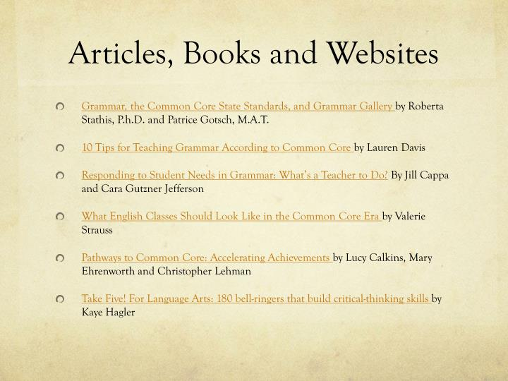 Articles, Books and Websites