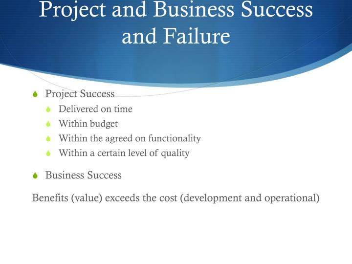 Project and Business Success and Failure