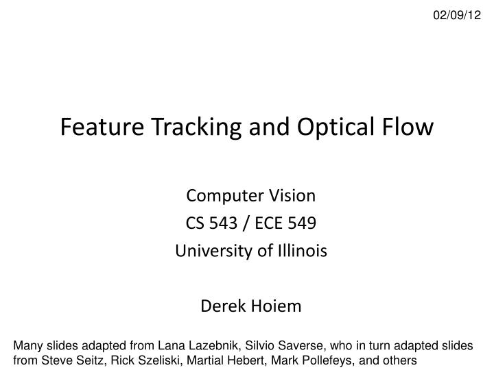 feature tracking and optical flow n.