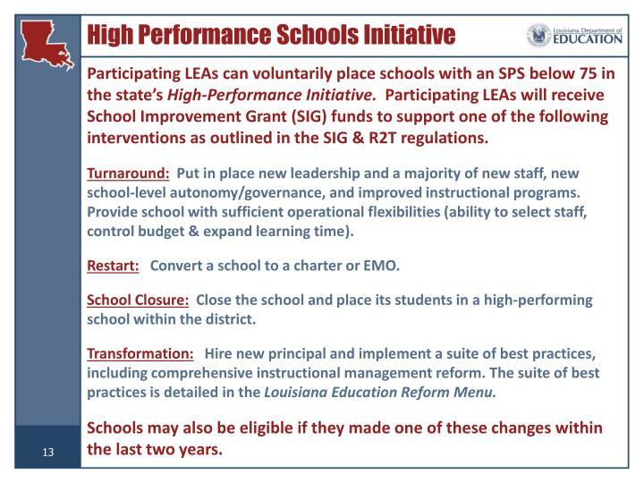 High Performance Schools Initiative