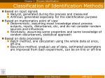 classification of identification methods