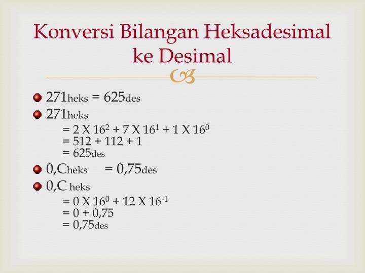 Konversi Bilangan Heksadesimal ke Desimal
