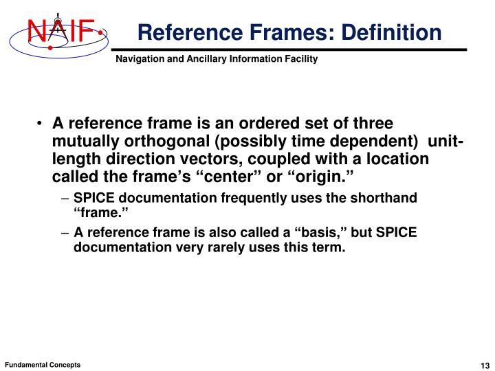 Reference Frames: Definition