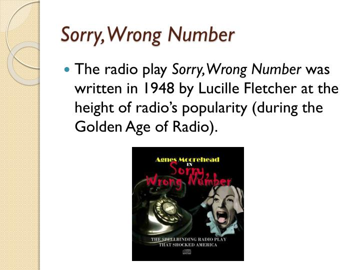 sorry wrong number script by lucille fletcher