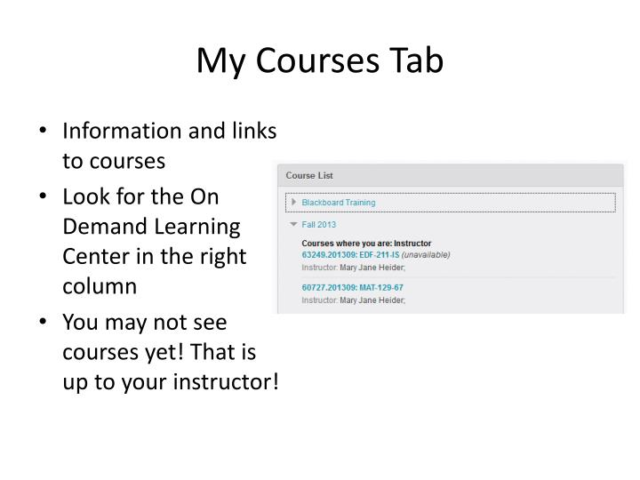 My Courses Tab