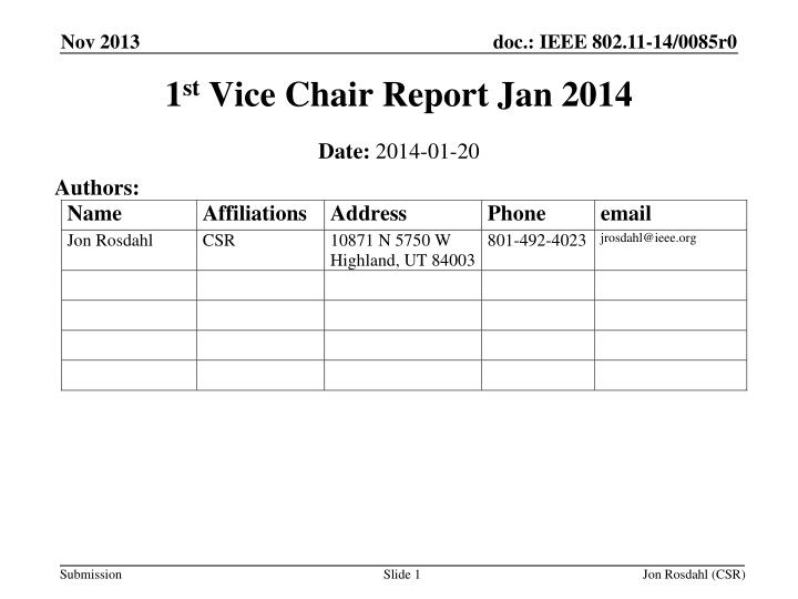 1 st vice chair report jan 2014 n.